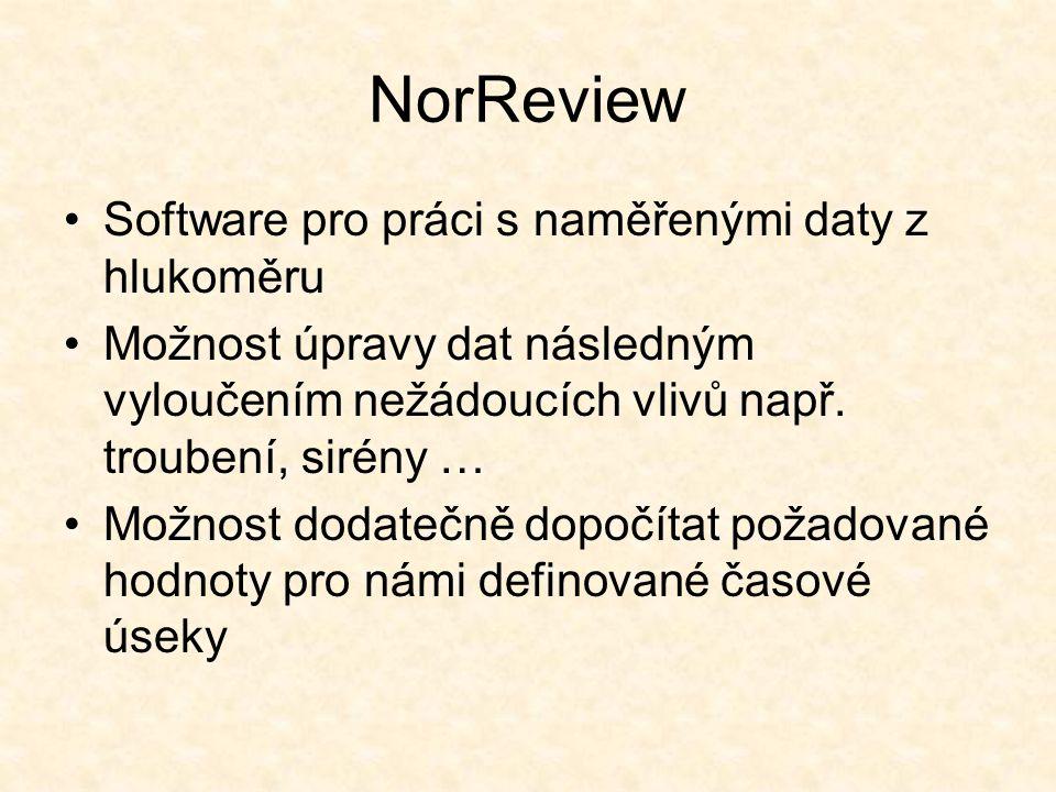 NorReview Software pro práci s naměřenými daty z hlukoměru