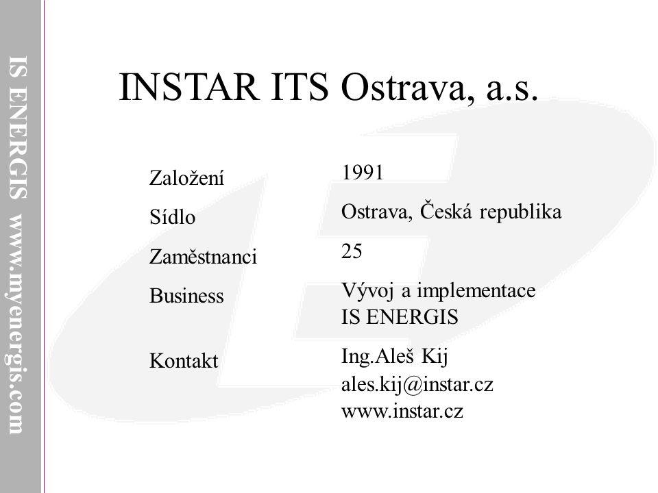 INSTAR ITS Ostrava, a.s. IS ENERGIS www.myenergis.com INSTAR ITS 1991