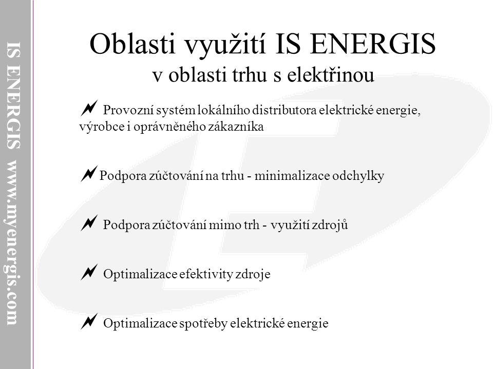 Oblasti využití IS ENERGIS v oblasti trhu s elektřinou