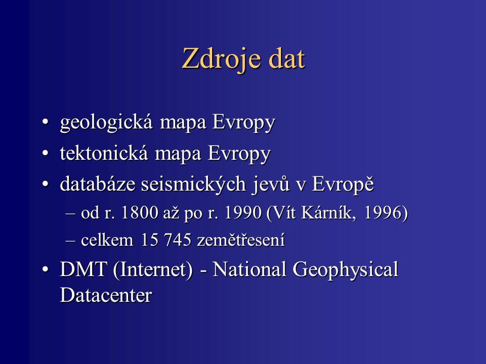 Zdroje dat geologická mapa Evropy tektonická mapa Evropy