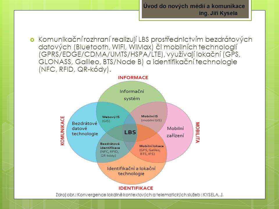 Komunikační rozhraní realizují LBS prostřednictvím bezdrátových datových (Bluetooth, WiFi, WiMax) či mobilních technologií (GPRS/EDGE/CDMA/UMTS/HSPA/LTE), využívají lokační (GPS, GLONASS, Galileo, BTS/Node B) a identifikační technologie (NFC, RFID, QR-kódy).
