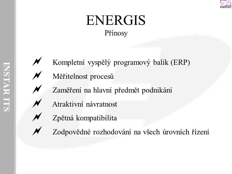ENERGIS Přínosy INSTAR ITS Kompletní vyspělý programový balík (ERP)