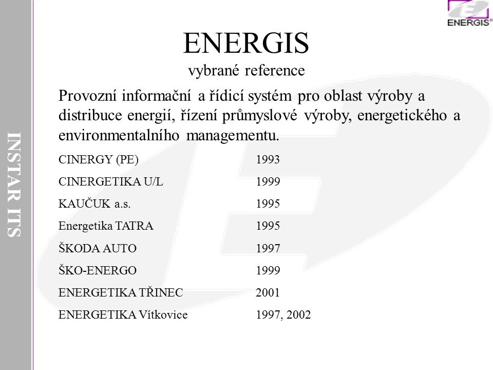ENERGIS vybrané reference
