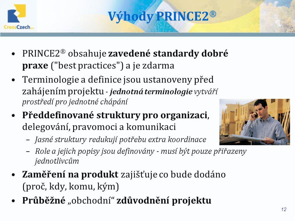 Výhody PRINCE2® PRINCE2® obsahuje zavedené standardy dobré praxe ( best practices ) a je zdarma.