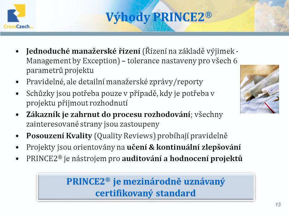 PRINCE2® je mezinárodně uznávaný certifikovaný standard