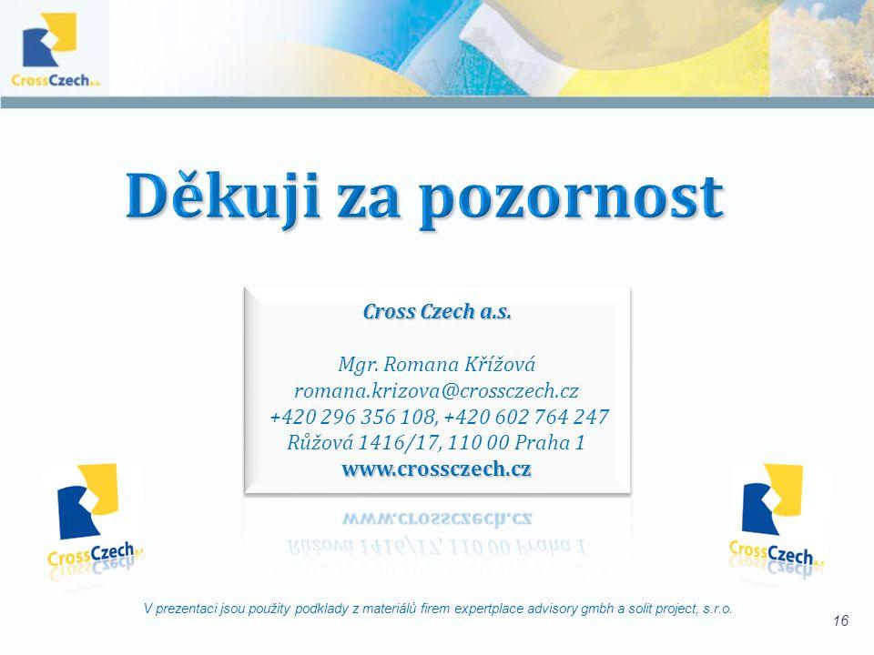 Děkuji za pozornost Cross Czech a.s. Mgr. Romana Křížová