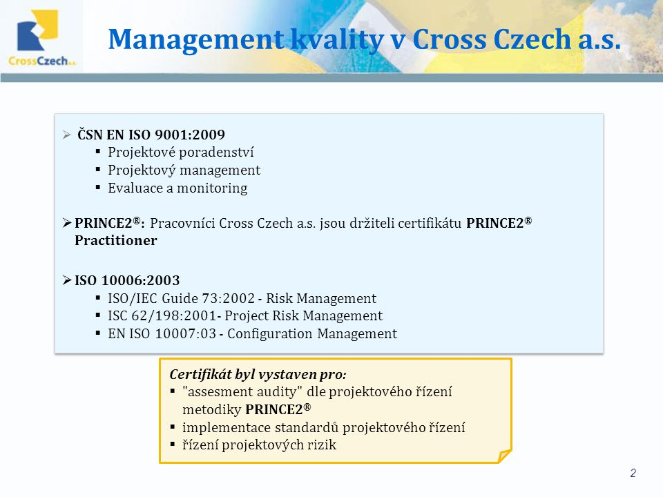 Management kvality v Cross Czech a.s.