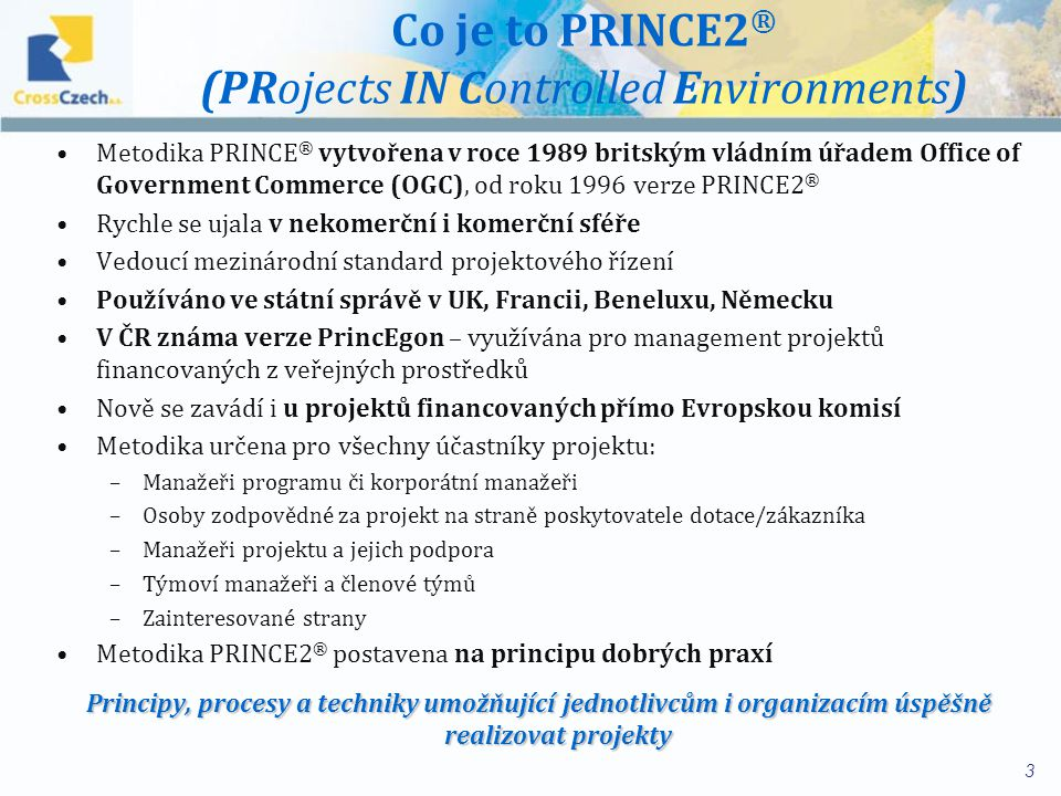 Co je to PRINCE2® (PRojects IN Controlled Environments)
