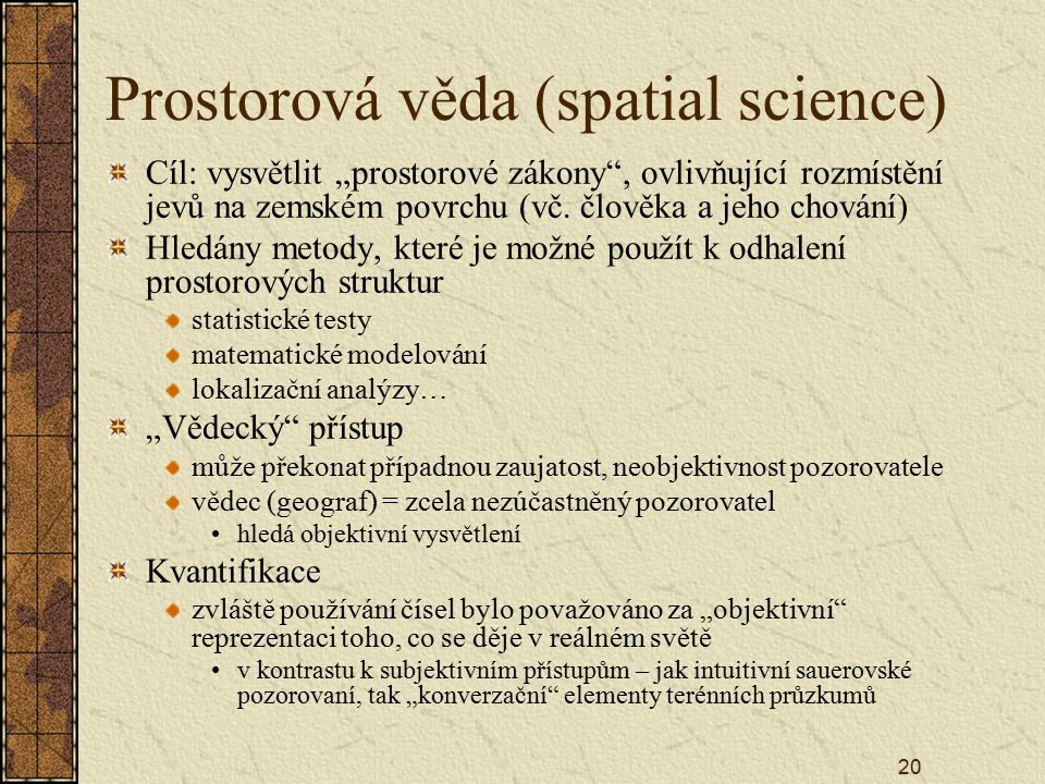 Prostorová věda (spatial science)