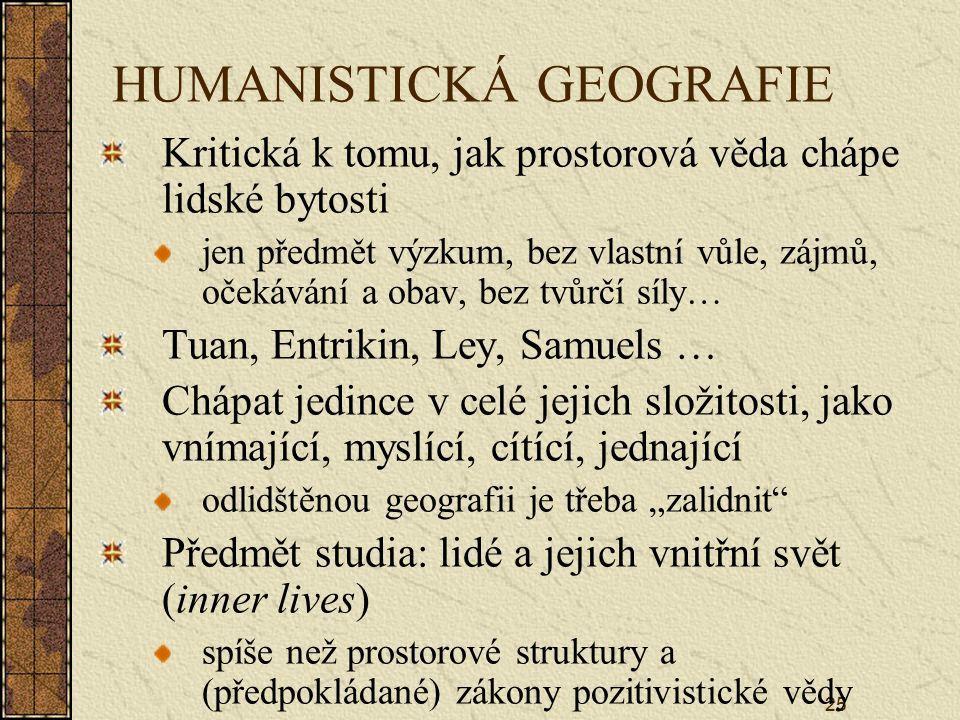 HUMANISTICKÁ GEOGRAFIE