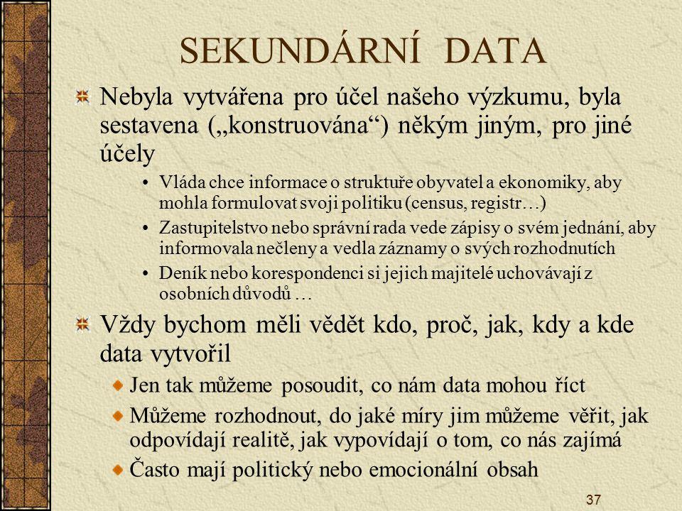 """SEKUNDÁRNÍ DATA Nebyla vytvářena pro účel našeho výzkumu, byla sestavena (""""konstruována ) někým jiným, pro jiné účely."""