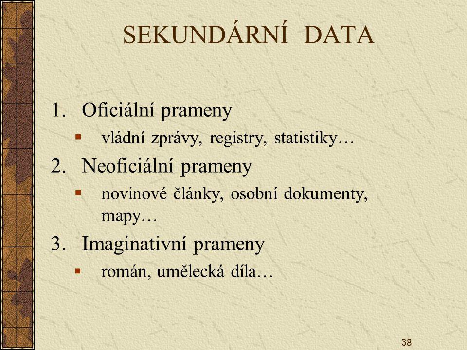 SEKUNDÁRNÍ DATA Oficiální prameny Neoficiální prameny