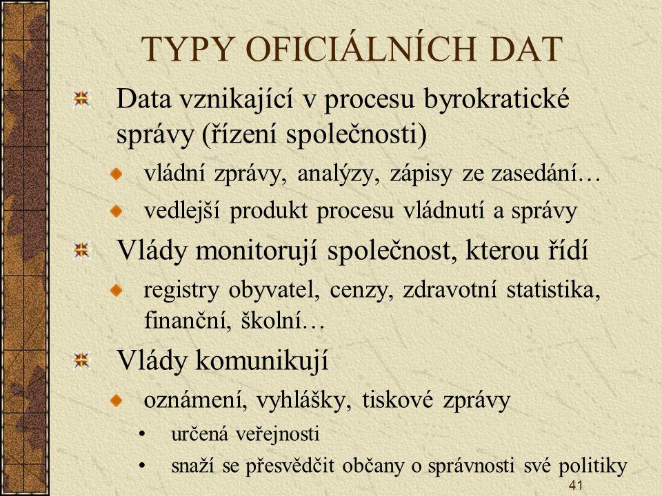 TYPY OFICIÁLNÍCH DAT Data vznikající v procesu byrokratické správy (řízení společnosti) vládní zprávy, analýzy, zápisy ze zasedání…