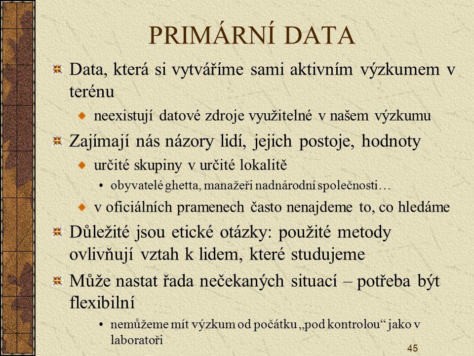 PRIMÁRNÍ DATA Data, která si vytváříme sami aktivním výzkumem v terénu