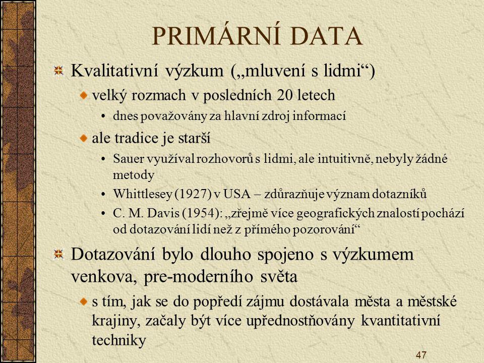 """PRIMÁRNÍ DATA Kvalitativní výzkum (""""mluvení s lidmi )"""