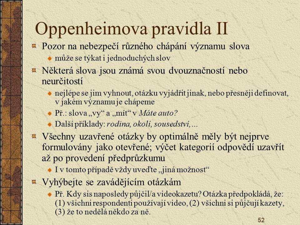 Oppenheimova pravidla II