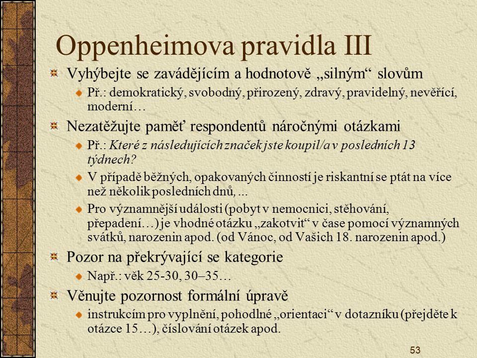 Oppenheimova pravidla III