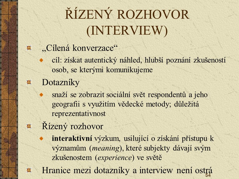 ŘÍZENÝ ROZHOVOR (INTERVIEW)