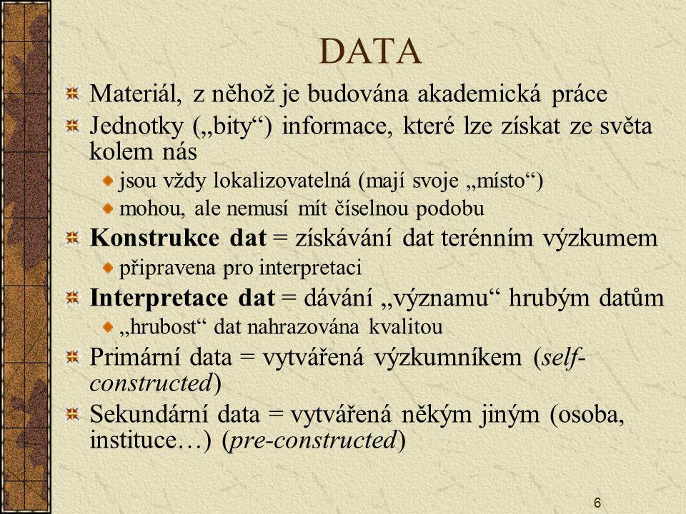 DATA Materiál, z něhož je budována akademická práce