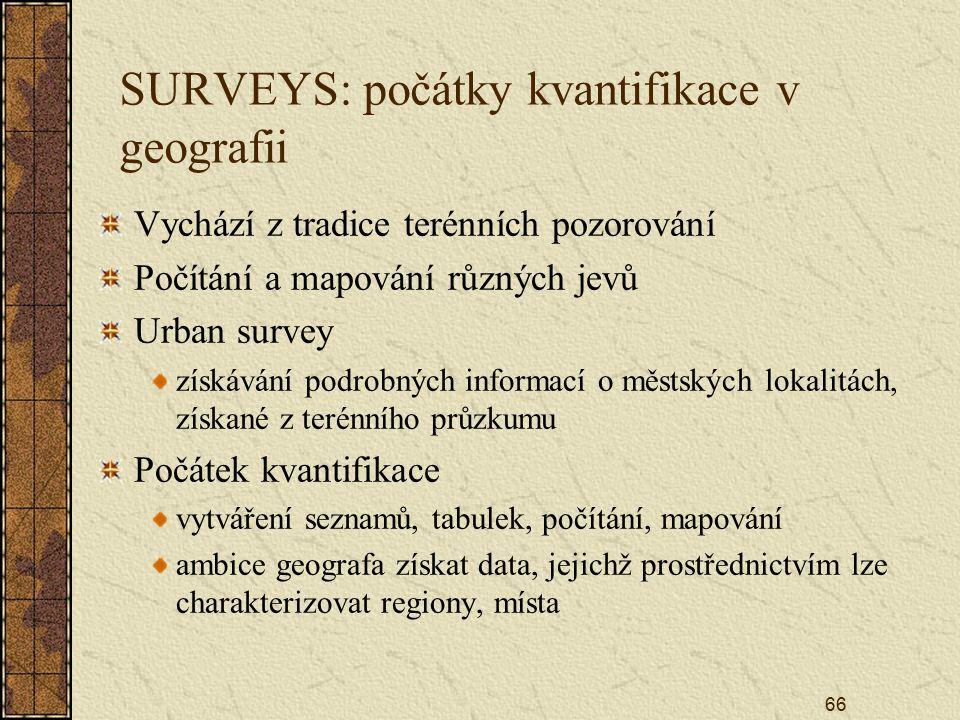 SURVEYS: počátky kvantifikace v geografii