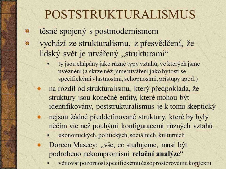 POSTSTRUKTURALISMUS těsně spojený s postmodernismem