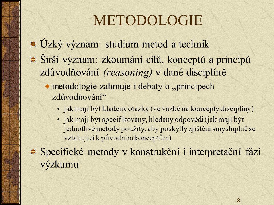 METODOLOGIE Úzký význam: studium metod a technik