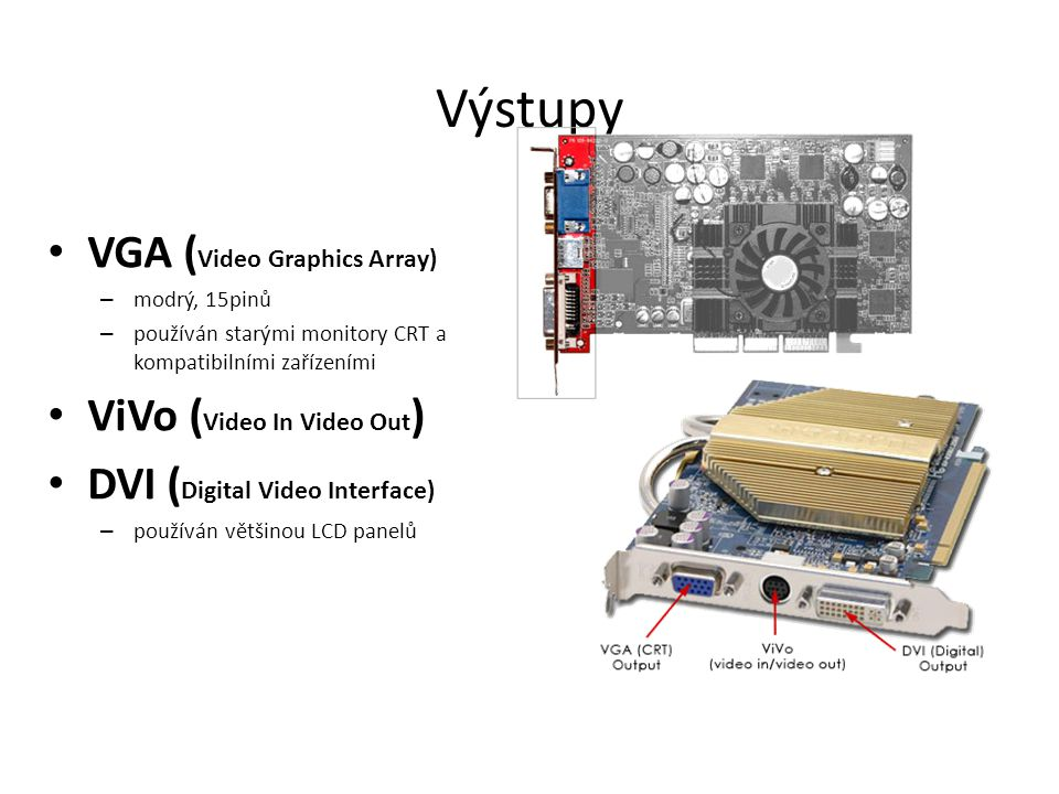 Výstupy VGA (Video Graphics Array) ViVo (Video In Video Out)
