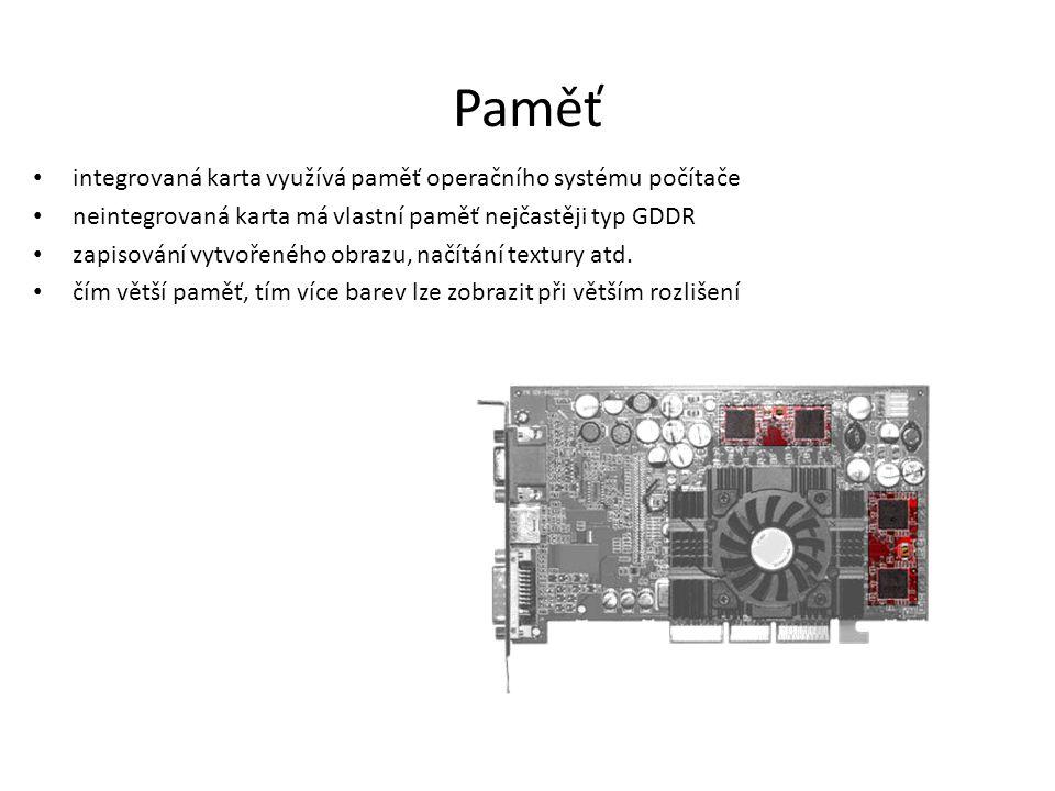 Paměť integrovaná karta využívá paměť operačního systému počítače