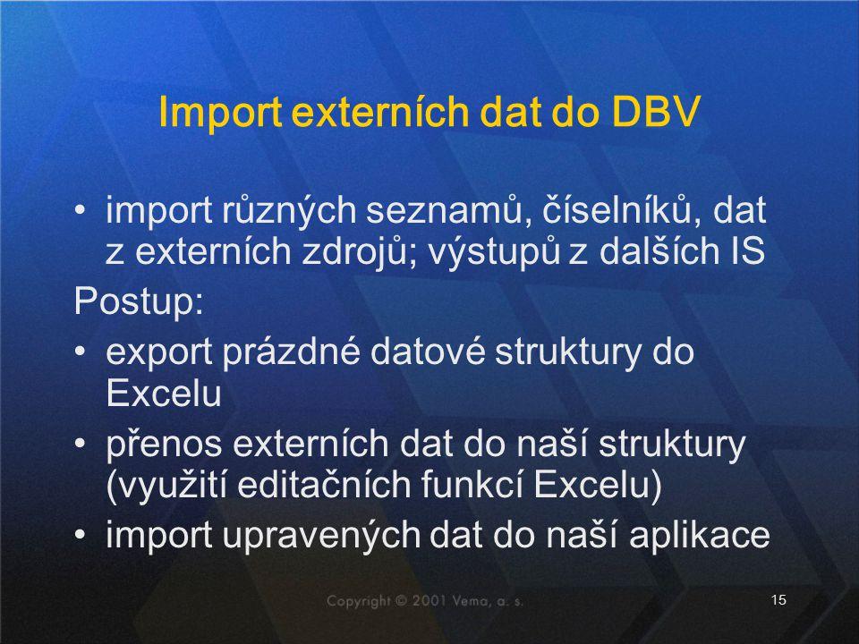 Import externích dat do DBV