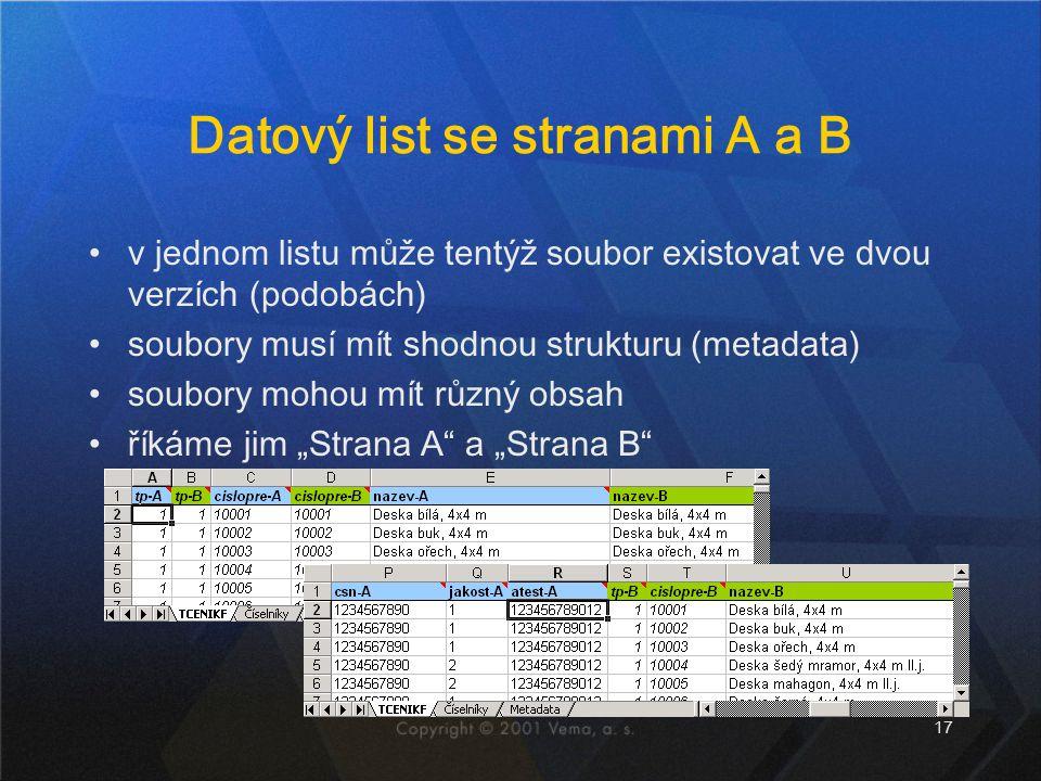 Datový list se stranami A a B