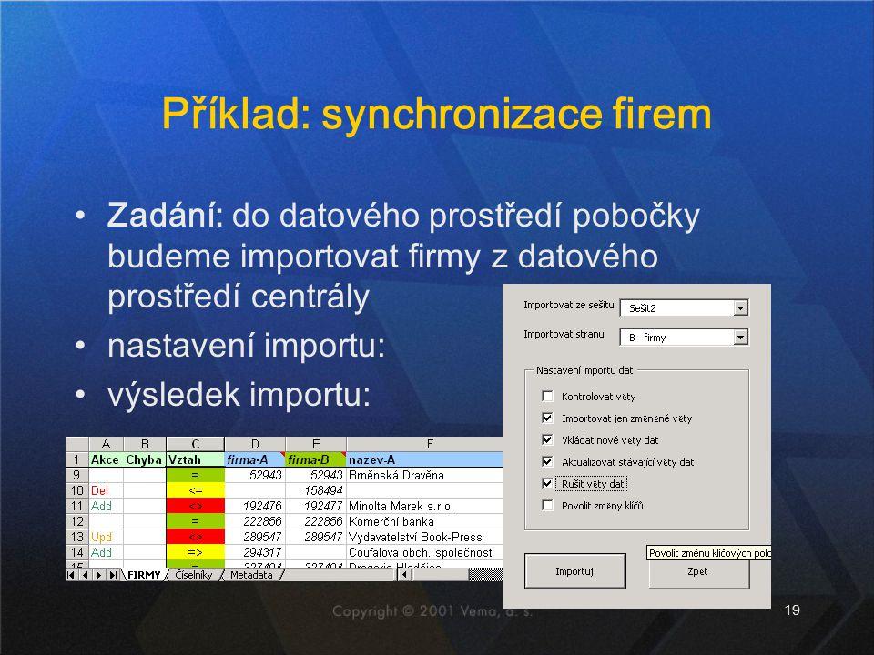 Příklad: synchronizace firem