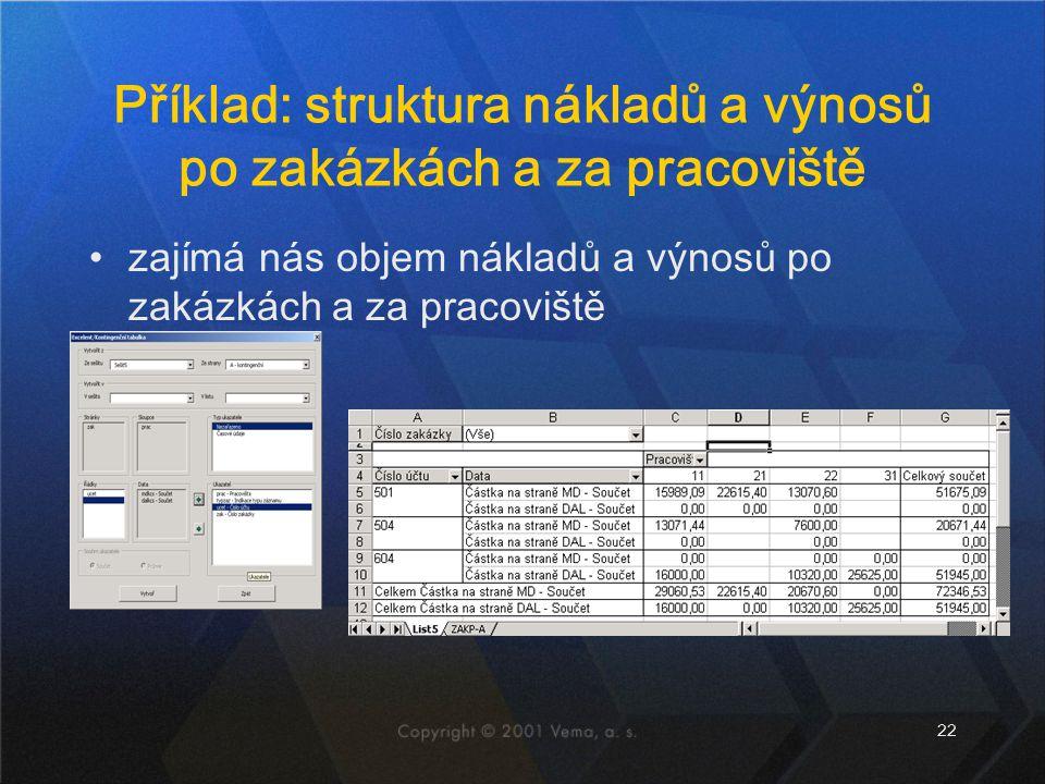 Příklad: struktura nákladů a výnosů po zakázkách a za pracoviště