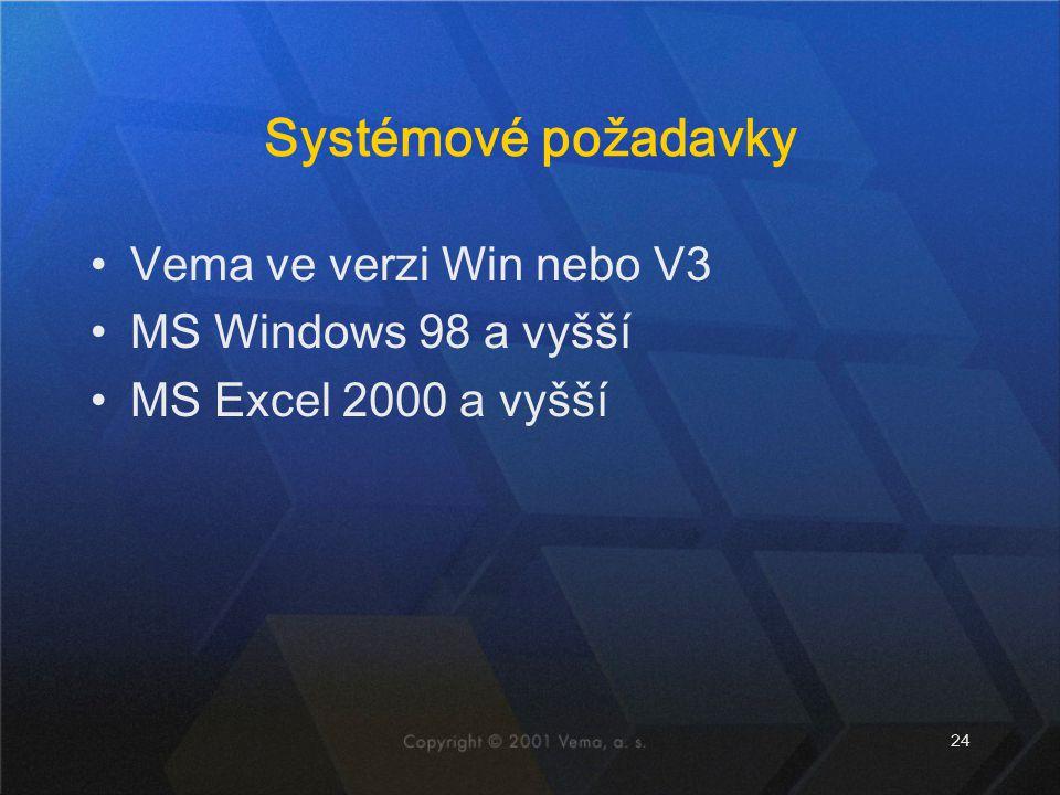 Systémové požadavky Vema ve verzi Win nebo V3 MS Windows 98 a vyšší