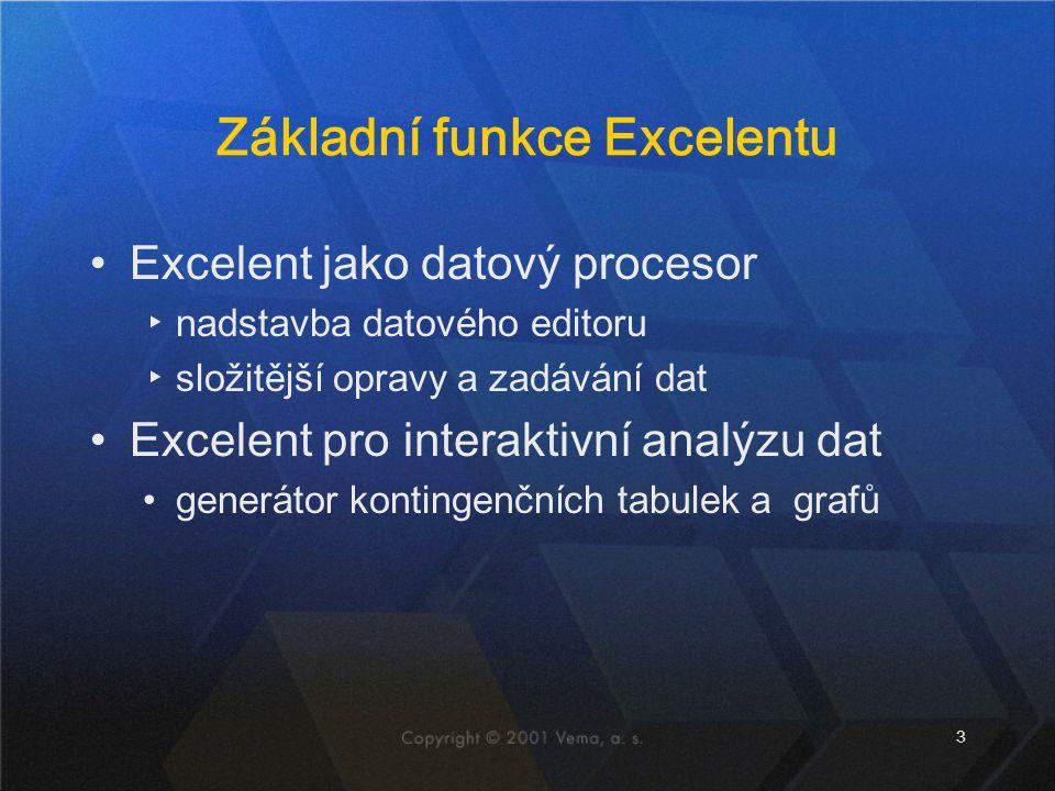 Základní funkce Excelentu