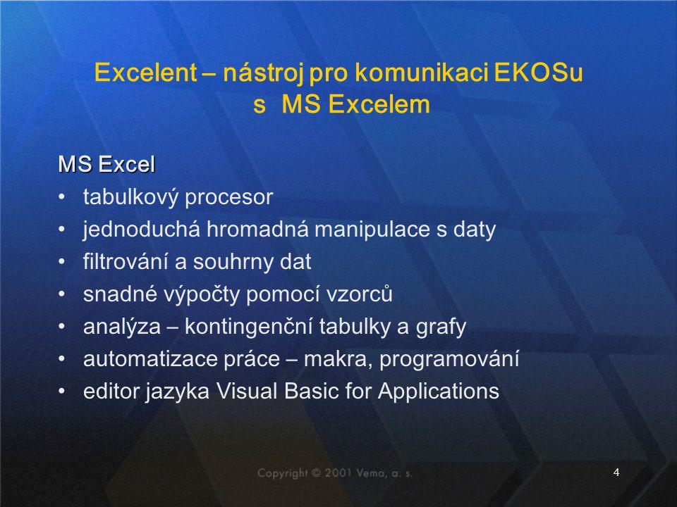 Excelent – nástroj pro komunikaci EKOSu s MS Excelem