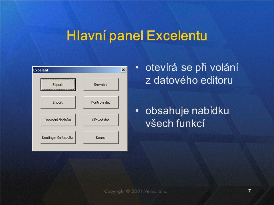 Hlavní panel Excelentu
