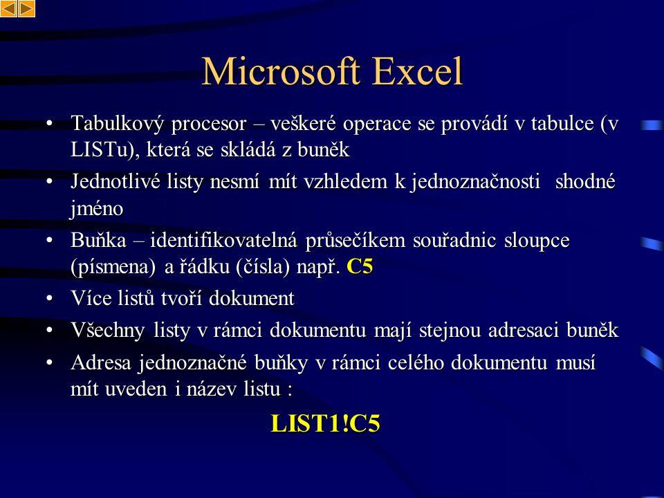 Microsoft Excel Tabulkový procesor – veškeré operace se provádí v tabulce (v LISTu), která se skládá z buněk.