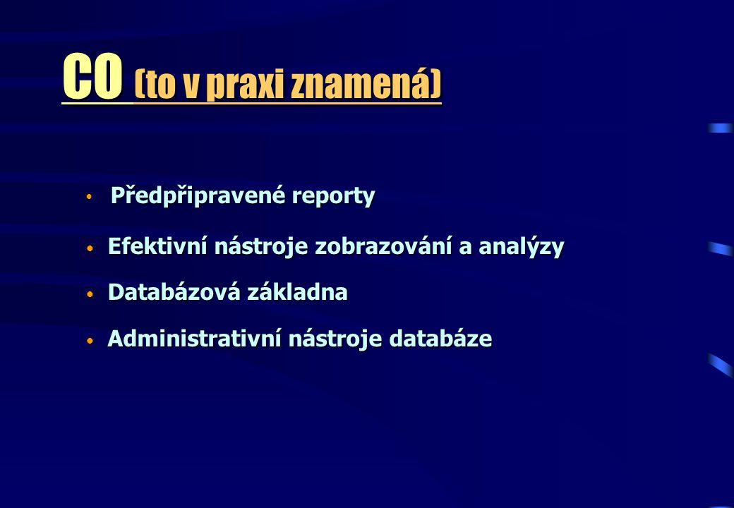 CO (to v praxi znamená) Předpřipravené reporty