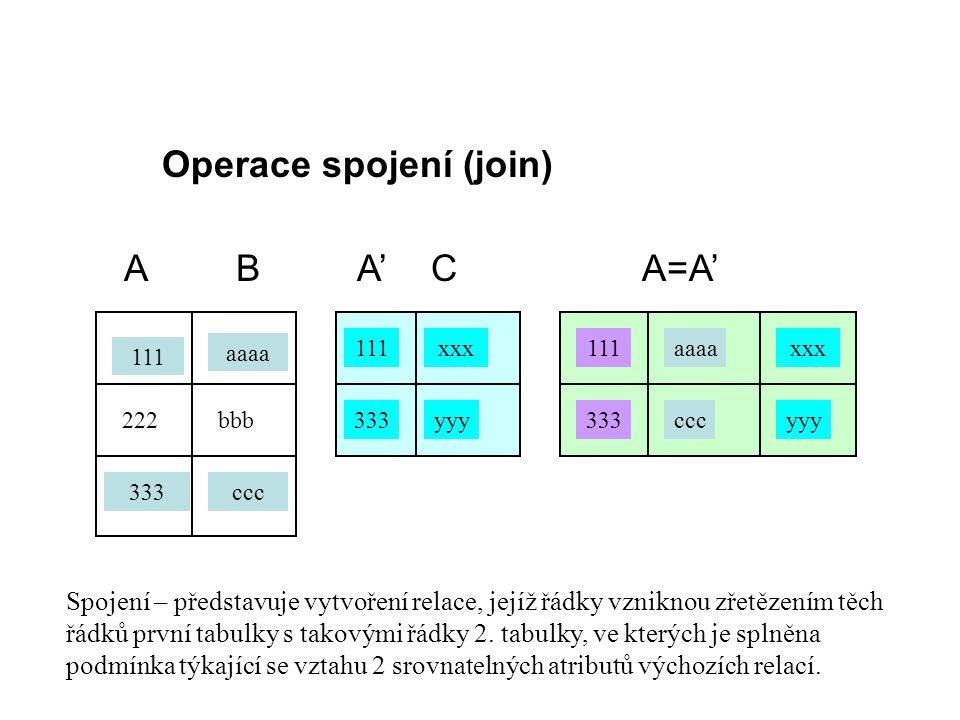Operace spojení (join) A B A' C A=A'