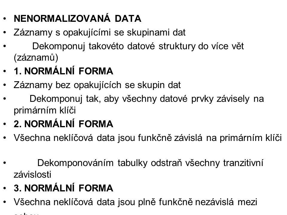 NENORMALIZOVANÁ DATA Záznamy s opakujícími se skupinami dat. Dekomponuj takovéto datové struktury do více vět (záznamů)