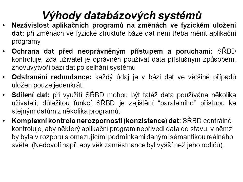 Výhody databázových systémů