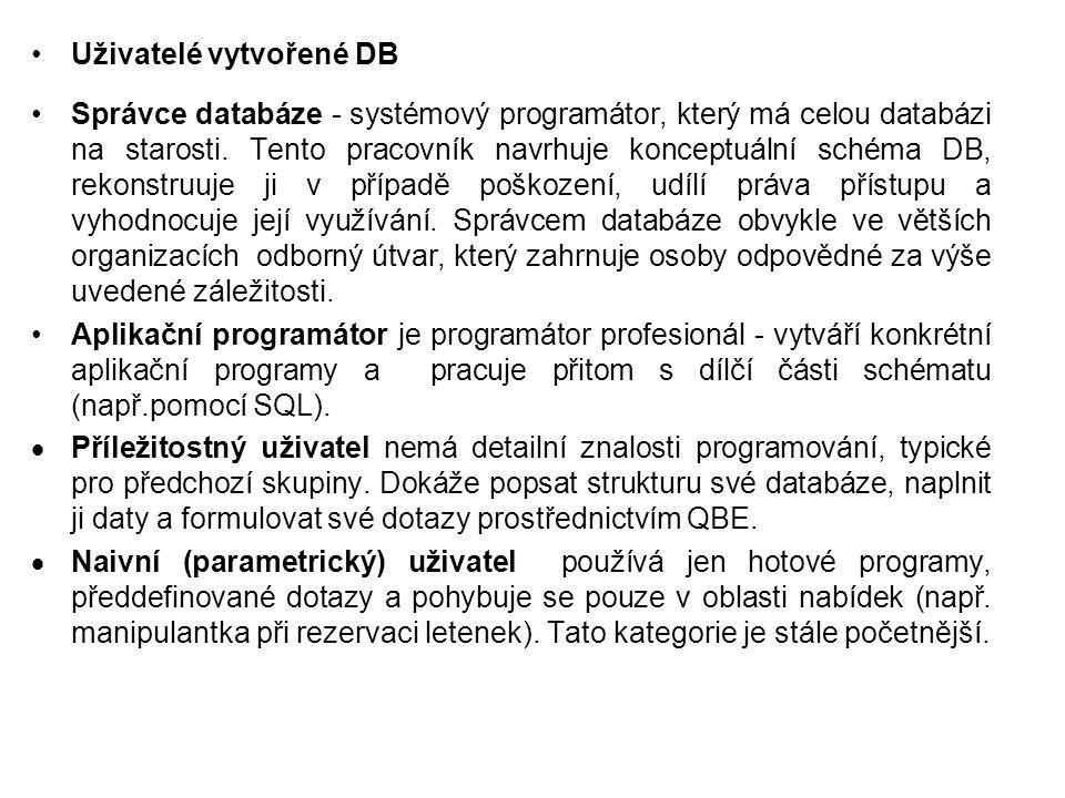 Uživatelé vytvořené DB