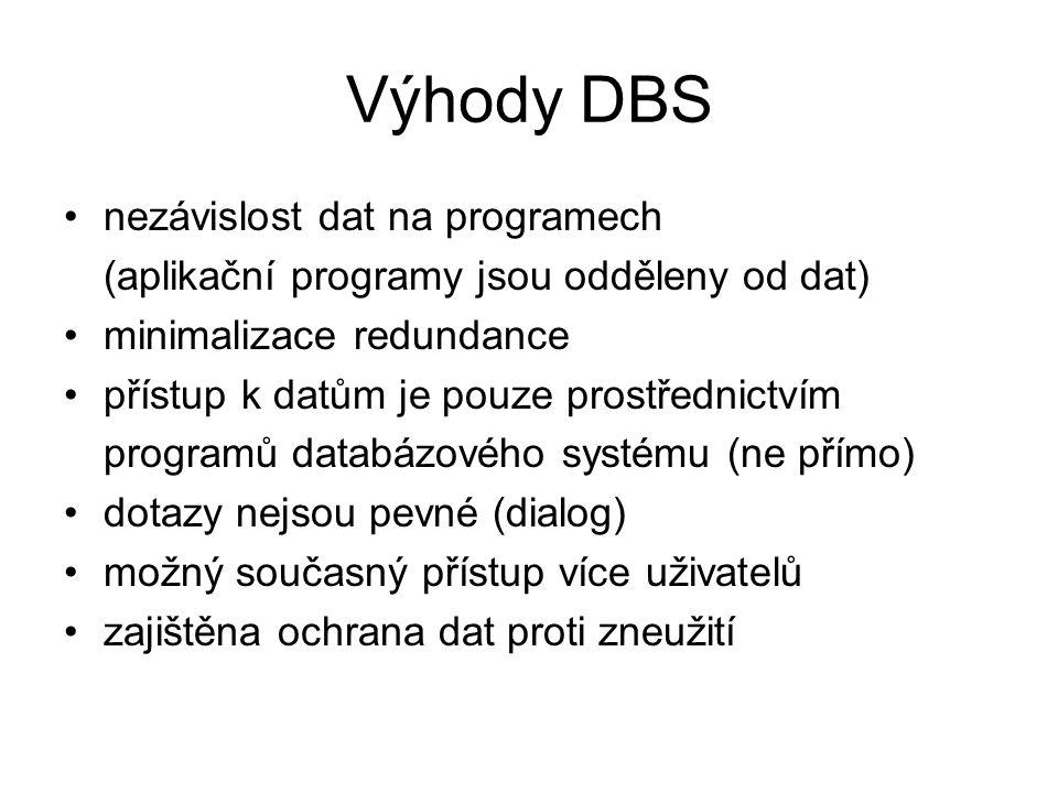 Výhody DBS nezávislost dat na programech