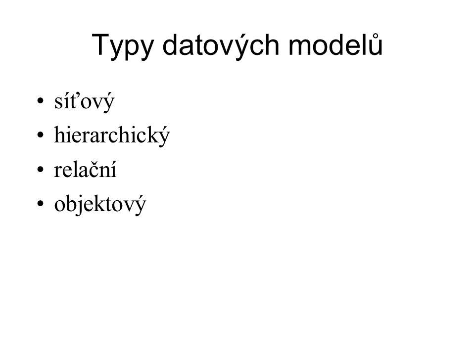 Typy datových modelů síťový hierarchický relační objektový