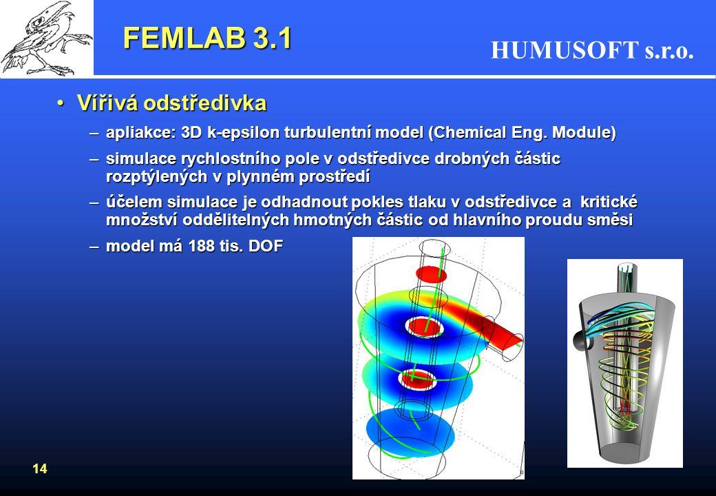FEMLAB 3.1 Vířivá odstředivka
