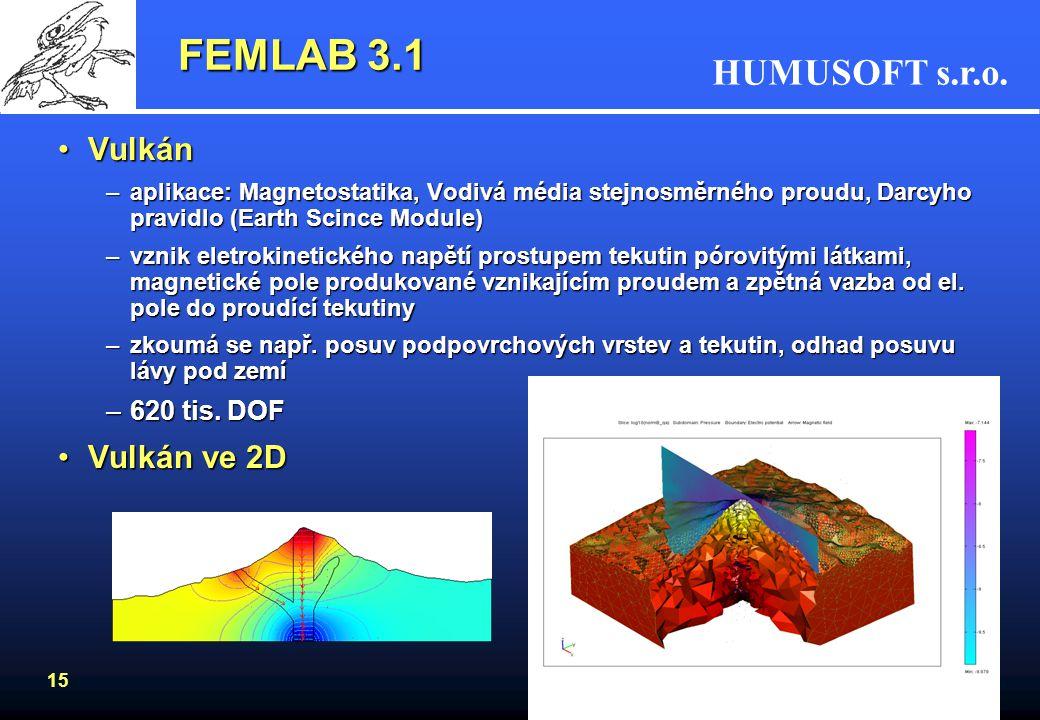 FEMLAB 3.1 Vulkán Vulkán ve 2D 620 tis. DOF