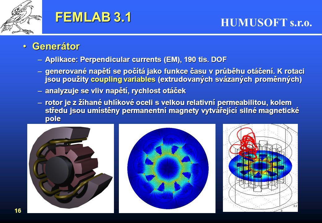 FEMLAB 3.1 Generátor. Aplikace: Perpendicular currents (EM), 190 tis. DOF.