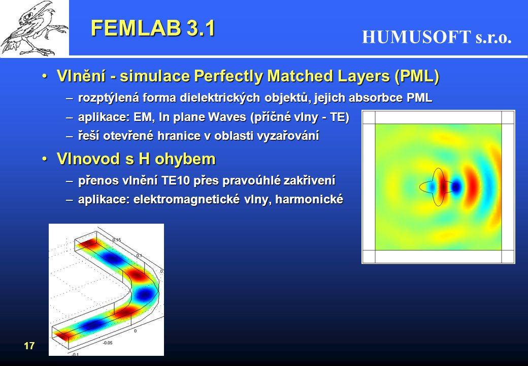 FEMLAB 3.1 Vlnění - simulace Perfectly Matched Layers (PML)