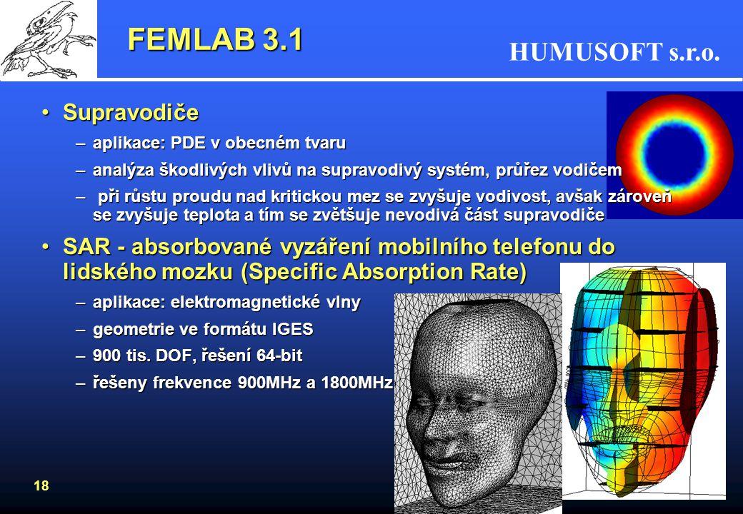 FEMLAB 3.1 Supravodiče. aplikace: PDE v obecném tvaru. analýza škodlivých vlivů na supravodivý systém, průřez vodičem.