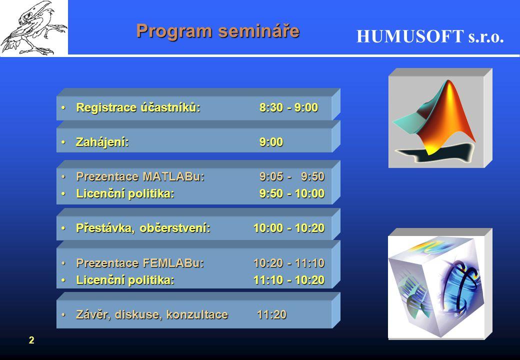 Program semináře Registrace účastníků: 8:30 - 9:00 Zahájení: 9:00